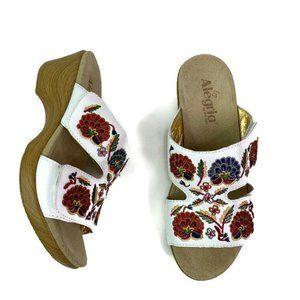 Alegria Womens Linn Sandals White Floral Embroider